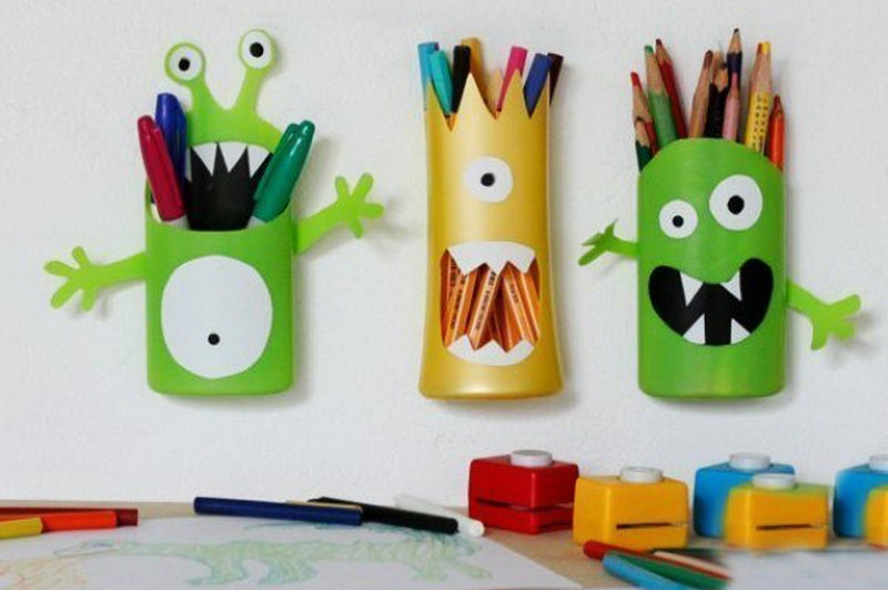 diy shampoo bottle pencil holder3